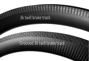 carbon rims with grooved 3k twill brake track